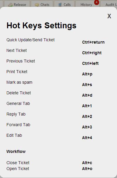'Shift+?' →  Hot Keys Settings Reminder